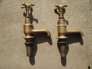 Brass Taps.  Antique Victorian/edwardian Brass Bath Taps photo