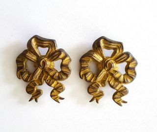 2 Antique Picture Hook Covers Ribbon Bow French Bronze Hardware 2.  36 Inches photo