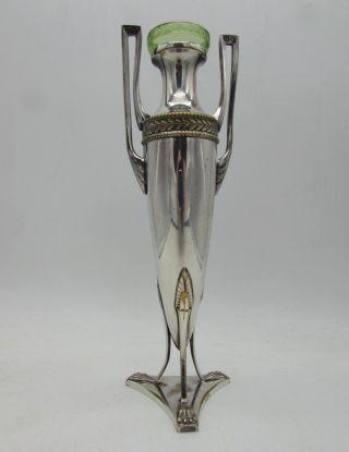 Antique Wmf Elegant Art Nouveau Vase Silver Plate Green Glass Liner C1905 photo