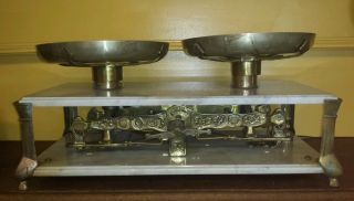 Big And,  Antique Trebol Balance Scale: Marble And Nickel Brass photo