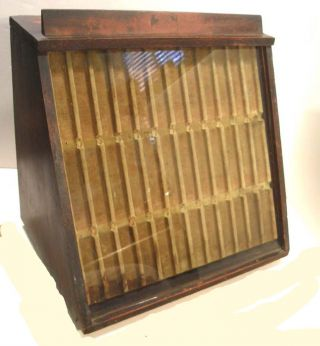 Antique Mercantile Countertop Slant Display Case Showcase Pocket Knives Pens photo