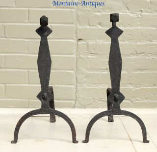 Early Folky Wrought Gooseneck Andirons 18th Cent photo