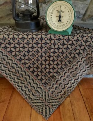 Vintage Style Primitive Woven Tablecloth Table Cover Tan Black Rust 54