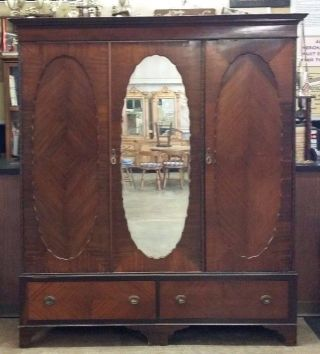 Lg Antique 3 Door Oyster Veneer Mahogany Wardrobe Closet Shelves Drawers Mirror photo
