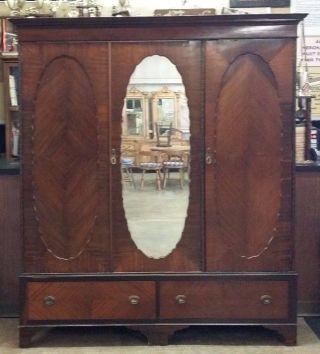 Lg Antique 3 Door Oyster Veneer Mahogany Wardrobe Closet Shelves Drawers Mirror photo