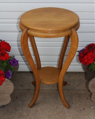 Antique Quarter Sawn Tiger Golden Oak Small Round Table Plant Stand Room Ready photo