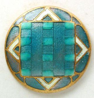 Antique French Enamel Button Colorful Aqua Geometric Basse Taille Design - 1