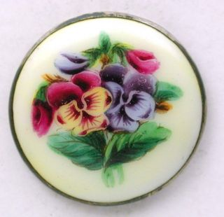 Antique Porcelain Button Hand Painted Pansies In Silver Design - 7/8