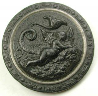 Antique Gutta Percha Button Winged Cherub Rides A Sea Monster W Ome 1 & 3/16