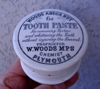 Antique,  Ceramic,  Ca 1910 Woods Chemist (mps) Tooth Paste Jar Box Pot Lid photo
