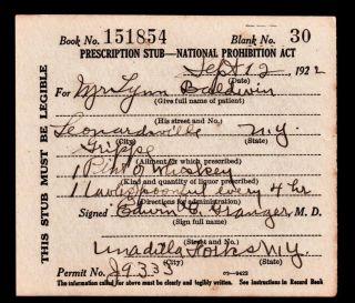Prohibition Whiskey Lynn Prescription Old 9/12 1922 Doctor Stub Bar York photo