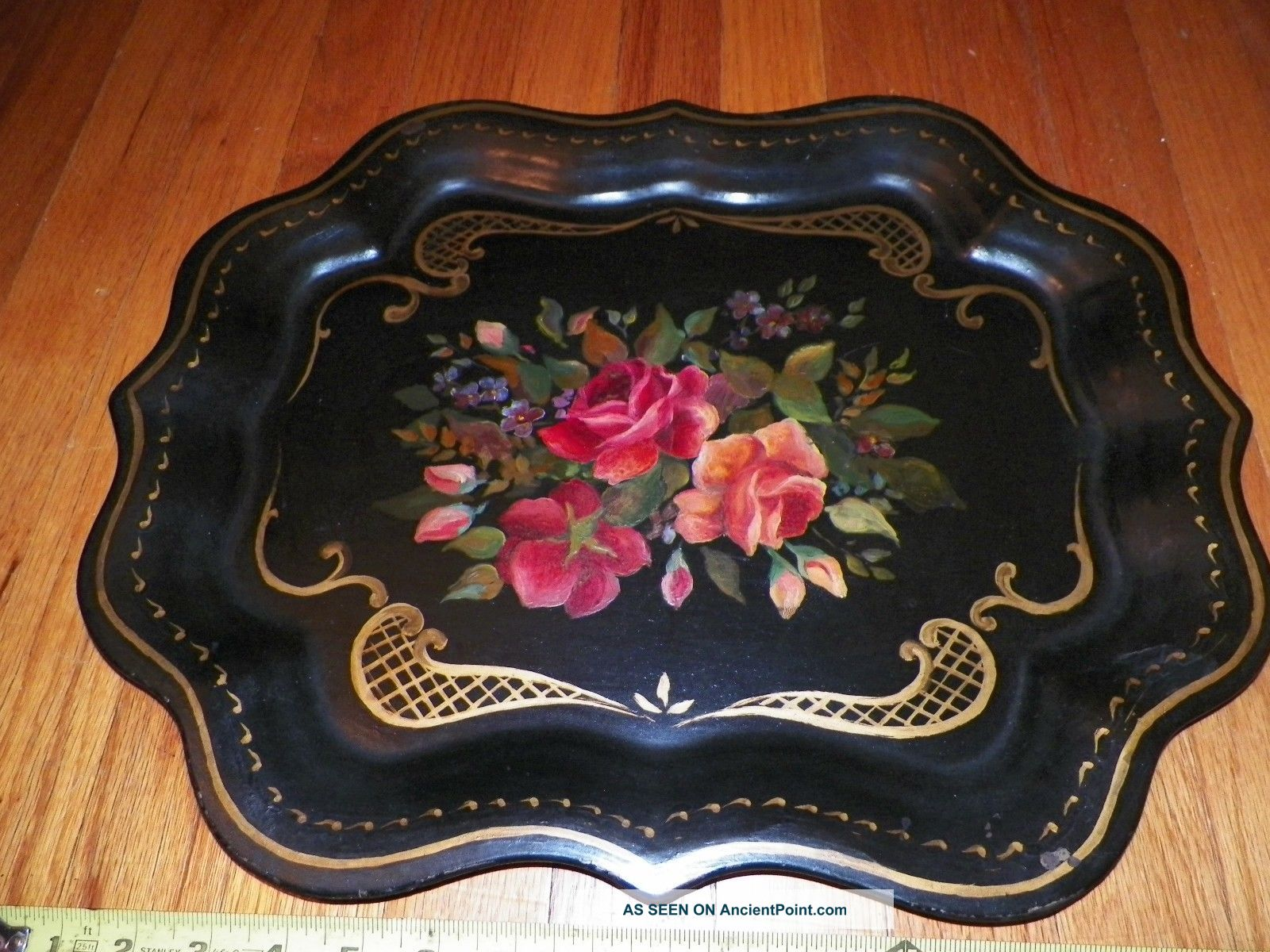 Large 1940 S Hand Painted Antique Tole Metal Serving Display Tray Roses 18 X 15