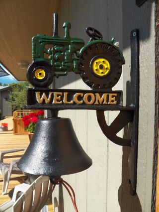 Antique - Style Cast Iron Hand Painted Tractor Motif Welcome Bell Dinner photo