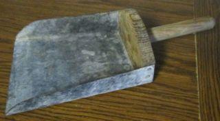 One Old Hand Scoop Primitive Tin & Wood photo