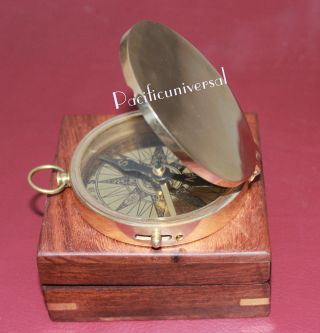 Vintage Marine Navigational Compass Brass Flat Compass With Wooden Box photo