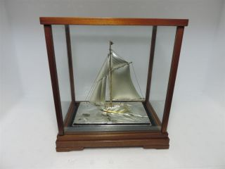 Masterly Hand Crafted Signed Japanese Sterling Silver 985 Model Yacht Ship Japan photo