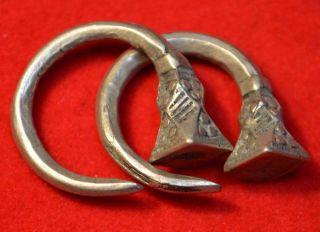 Antique Tuareg Tribal Silver Tsabit Tizabaten Traditional Earrings,  Mali Africa photo