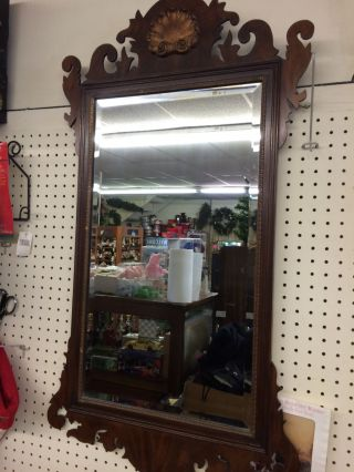 Antique Henkel Harris Chippendale Mahogany Mirror W/ Shell photo