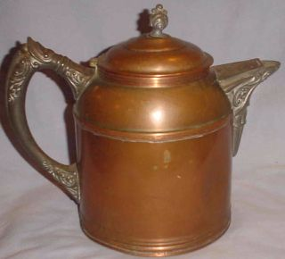 Vintage Copper & Pewter ? Coffee Pot Or Teapot Hinged Lid/8