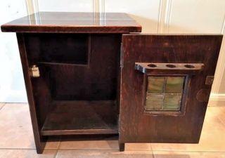Antique Arts & Crafts Handmade Smoking/bar Cabinet Dark Wood W Glass,  Versatile photo