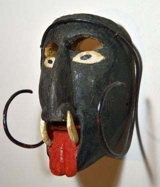 Powerful Old Mexican Folk Art Dance Mask Of Diablo Or Demon photo
