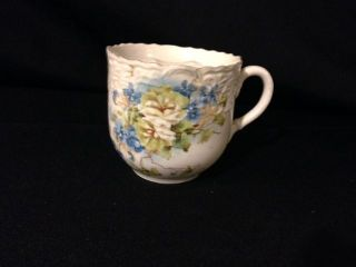 Moustache Guard China Cup With Blue And White Floral With Gold Trim photo