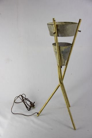 Vintage Mcm Gerald Thurston For Lightolier Brass Tripod Table Lamp Project photo