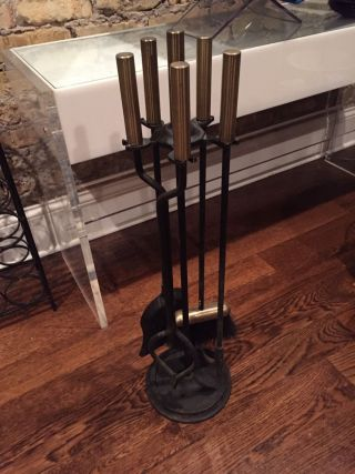 Mid Century George Nelson Style Wrought Iron Bronze Brass Fireplace Tools photo