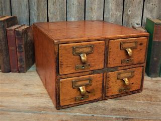 Antique Library Bureau Sole Makers 4 Drawer Oak File Card Cabinet 1901 Stunning photo