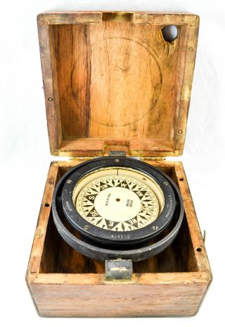 Antique E.  S.  Ritchie And Sons Nautical Gimbaled Compass,  Wooden Box photo