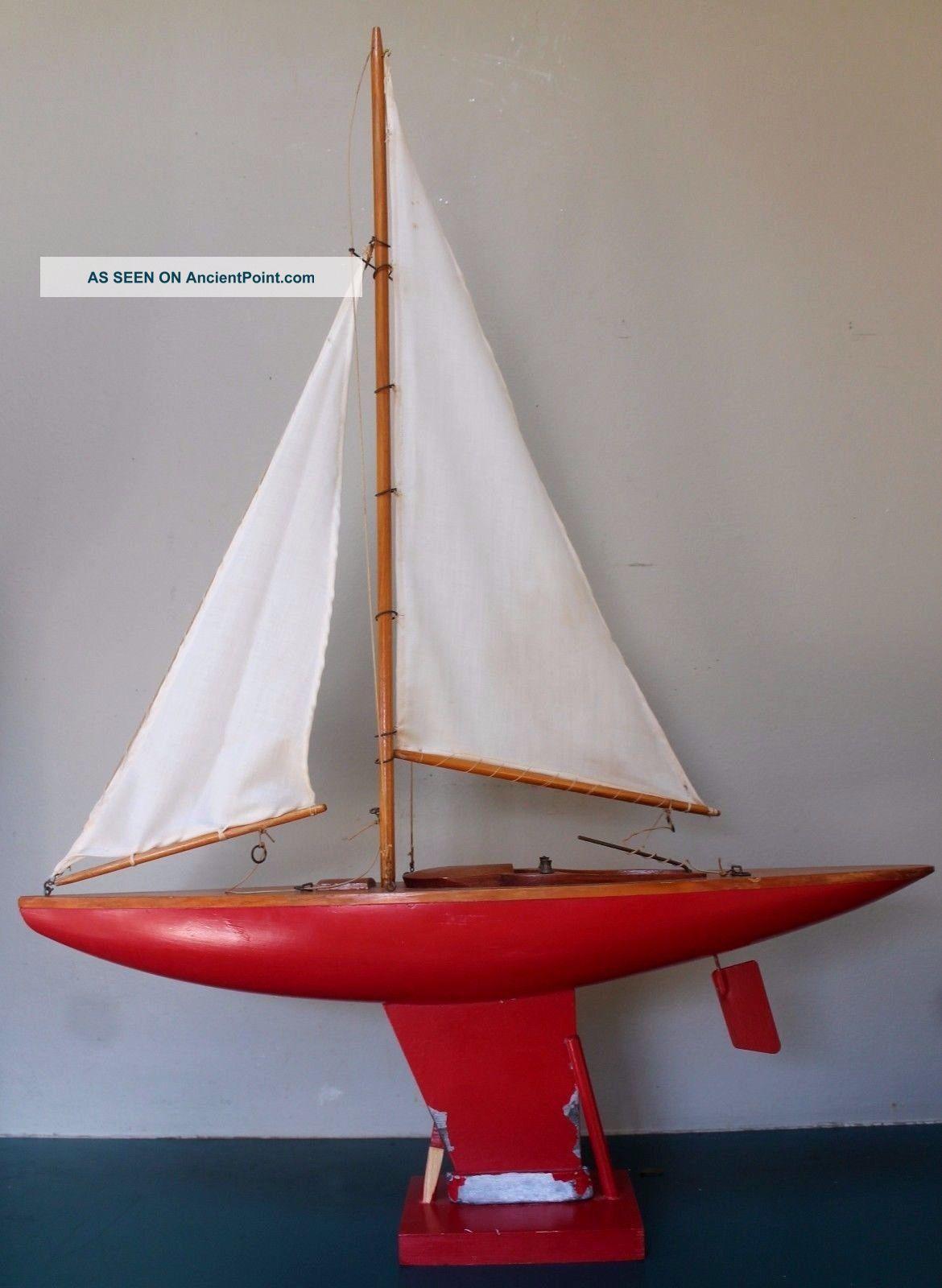 Vtg Wooden Pond Boat Sailboat Sloop 34