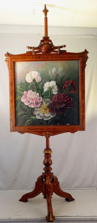 19thc Antique Victorian Era Carved Wood Fire Screen Still Life Flower Painting photo