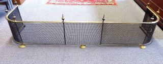 Antique Fire Place Skirt Fender.  Brass.  3 Paw Feet.  Wire Mesh.  Posts&finials.  1880 photo