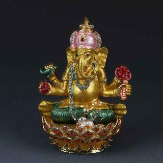 Chinese Collectable Cloisonne Inlaid Rhinestone Handwork Elephant Box G370 photo