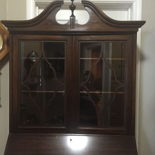 Gorgeous Antique Maddox Mahogany Drop Front Secretary Bookshelf Desk photo