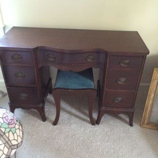 Antique Mahogany Veneer Vanity/writing Desk With Stool photo