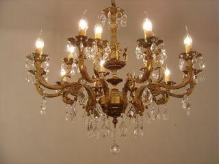15 Light Bronze/brass Chandelier Crystal Old Antique photo