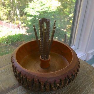 Vintage Mid Century Wood Nut Bowl Tree Slice W Bark Picks And Cracker photo
