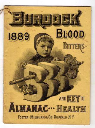 1889 Burdock Blood Bitters Almanac Quack Medicine Dr.  Thomas ' Eclectric Oil Etc. photo