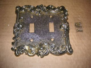 Nos Vintage 1967 American Tack & Hardware Brass Double Switch Plate 60tt Floral photo