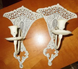 Pair Shabby Chic Cast Iron Taper Candle Wall Sconces,  Lace,  Scroll,  Pineapple,  India photo