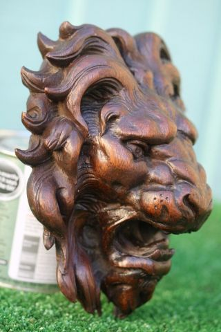 Stunning 17thc Gothic Wooden Oak Lion Head Corbel With Intricate Carving C1680s photo