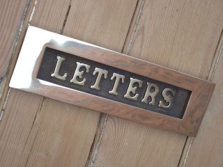 Ex Display Victorian Old Style Brass Letter Box Vintage Edwardian Georgian Style photo