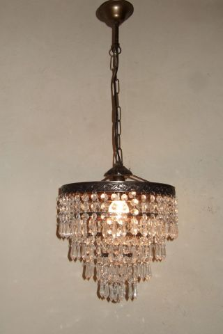 Antique Vintage French Waterfall Brass & Crystal Drops Chandelier photo