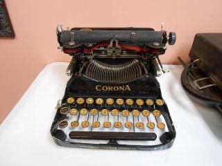 Vintage Corona Portable Folding Typewriter Black With Hard Case photo