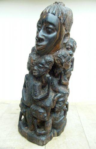 Vintage African Carved Ebony Tree Of Life Makonde Ujamaa Sculpture photo