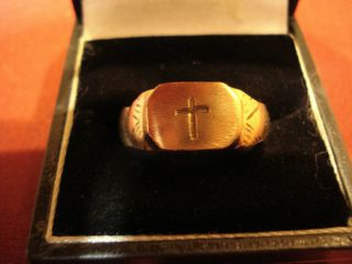 Ancient Medieval Crusaders Ring With ' Cross ' - - Detector Find photo