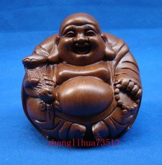 Antique Handmade Carving Wood Statue Maitreya Buddha Art Deco photo