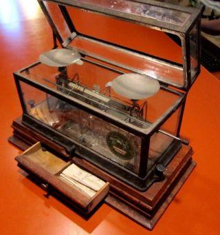 Antique Drug Store Scale Torsion Balance Co - 269 Heavy Wood Base Patent 1891 photo