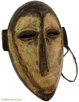 Lega Mask Bwami Society White Face Congo Africa Was $99 photo